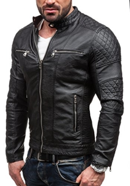 BOLF Ökolederjacke Herrenjacke Sweatshirt FEIFA FASHION 9125 Schwarz S [4D4] -