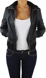 Damen Lederjacke Kunstlederjacke Leder Jacke Damenjacke Jacket Bikerjacke 809 S -