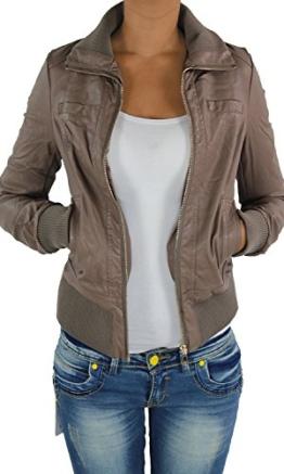 Damen Lederjacke Kunstlederjacke Leder Jacke Damenjacke Jacket Bikerjacke 09all S Cappuccino -