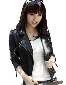 Elegante Damen Kunstleder Radfahrer Motorrad Black Zipper Kunstlederjacke (Asian XL (Äquivalent M) length 57cm Bust 94cm Shoulder 41cm Sleeve 56cm) -