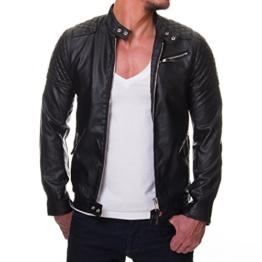 Prestige Homme Herren Jacke Kunst Leder Biker Gesteppt MR08, Größe:M -