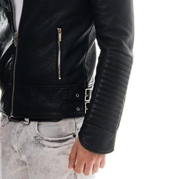 Prestige Homme Herren Kunst Lederjacke Biker Style Zipper Gesteppt PR19, Größe:M;Farbe:Schwarz -