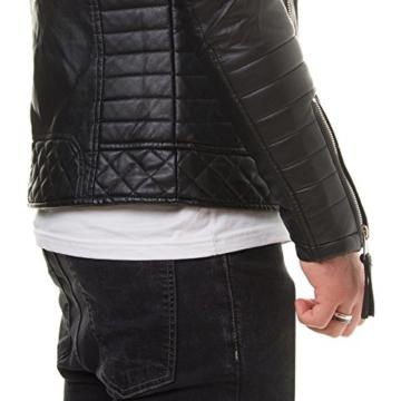 Prestige Homme MR18-4 Herren Kunst Lederjacke Biker Jacke Gesteppt Schwarz Rot S-XXL, Größe:M;Farbe:Schwarz -