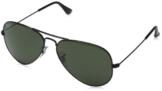 Ray Ban Unisex Sonnenbrille Aviator, Gr. Large (Herstellergröße: 58), Schwarz (Gestell: schwarz, Gläser: grau grün) -