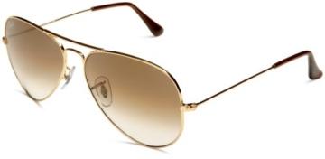 Ray Ban Unisex Sonnenbrille Aviator, Gr. Large (Herstellergröße: 55), Gold (gold 001/51) -