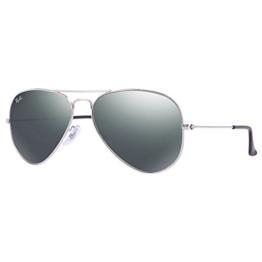Ray Ban Unisex Sonnenbrille Aviator, Gr. Large (Herstellergröße: 58), Silber (silber W3277) -