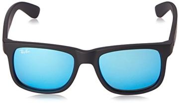 Ray Ban Unisex Sonnenbrille Justin, Gr. Small (Herstellergröße: 51), Schwarz (Gestell: schwarz, Gläserfarbe: blau 622/55) -