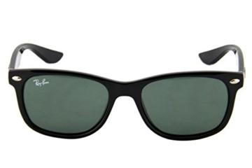 Ray Ban Unisex Sonnenbrille NEW WAYFARER JUNIOR, Gr. Small (Herstellergröße: 47), Schwarz (Gestell: schwarz, Gläserfarbe: grün klassisch 100/71) -