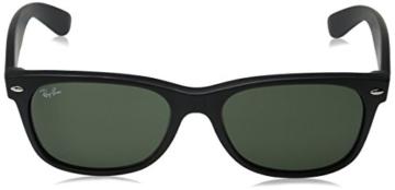 Ray-Ban Unisex Sonnenbrille New Wayfarer, Einfarbig, Gr. Medium (Herstellergröße: 55), Schwarz (Black Rubber/Green 622) -