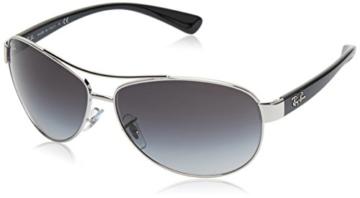 Ray Ban Unisex Sonnenbrille RB3386, Gr. X-Large (Herstellergröße: 63), Mehrfarbig (Gestell: Silber/Schwarz, Gläser: Grau Verlauf 003/8G) -