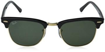 Ray Ban Unisex Sonnenbrille RB3016, Gr. Medium (Herstellergröße: 49), Mehrfarbig (Gestell: Schwarz/Gold, Gläser: Grün Klassisch W0365) -