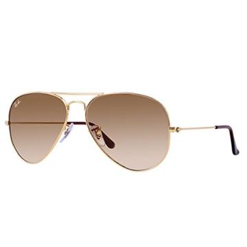 Ray Ban UnisexRb3025 Aviator Large Metal Aviator Sonnenbrille, Braun(Gestell: Gold, Gläser: Kristall braun Verlauf) -