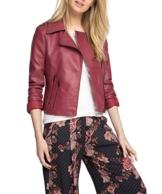 edc by ESPRIT Damen Kunstlederjacke Jacke in verschiedenen Farben, Gr. 40 (Herstellergröße: L), Rot (GARNET RED 620) -