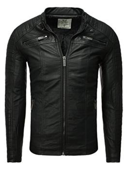 Lederjacke Jacke Herren Kunstlederjacke Redbridge schwarz Männer Stehkragen Tailliert Slim Fit schwarz S -