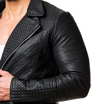 Prestige Homme Herren Jacke Kunstleder Biker Style Zipper Gesteppt Schwarz PR-22, Größe:XL;Farbe:Schwarz -