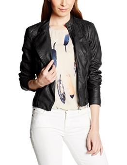 VERO MODA Damen Sport Weste Vmmiley Short PU Jacket Dnm Noos, Schwarz (Black), 36 (Herstellergröße: S) -