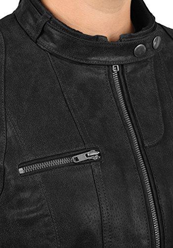 DESIRES Hame Damen Lederjacke Echtleder Bikerjacke mit Stehkragen aus 100% Leder -