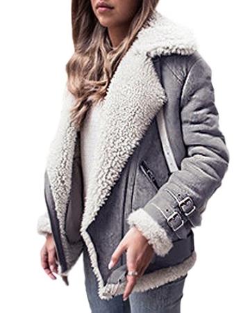 Minetom Damen Mäntel Mode Warm Casual Streetwear Winterjacke Wildleder Wolle Motorradjacke Fleece Outwear Jacke Parka Mit Taschen -