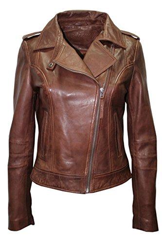 Infinity- neue Dame- Frauen Retro BRANDO 442 braun Fashion Motorradfahrer Casual Style aus weichem Leder -Rock-Punk -Jacke Slim Fit (Größen 36-48), Braun – Chestnut, 38 (10) -